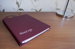 Libro di informazioni di hotel Fotografie Stock Libere da Diritti