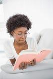 Libro di lettura castana splendido serio Fotografia Stock