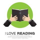Libro di lettura degli uomini Immagine Stock