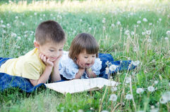 Libro di lettura dei bambini in parco che si trova sullo stomaco all'aperto fra il dente di leone in parco, in bambini svegli ist Immagini Stock