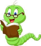 Libro di lettura del verme del fumetto Fotografia Stock