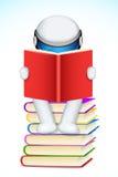 libro di lettura dell'uomo 3d Fotografie Stock