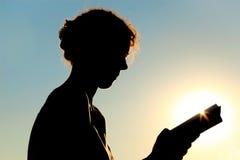 Libro di lettura della donna, luce solare Fotografia Stock Libera da Diritti