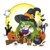 Libro di lettura della ragazza della strega di Halloween Illstration Fotografia Stock