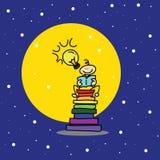 Libro di lettura disegnato a mano del ragazzo di sogno del fumetto Fotografia Stock Libera da Diritti