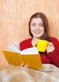Libro di lettura grazioso della ragazza sul sofà Fotografie Stock Libere da Diritti