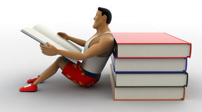 libro di lettura macho dell'uomo 3d e mucchio appoggiarsi del concetto del libro Fotografia Stock