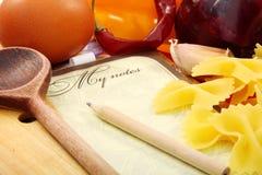 Libro di ricetta. Fotografia Stock
