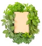 Libro di ricetta con le erbe fresche di varietà Concetto del libro di cucina Immagini Stock