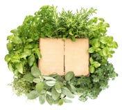 Libro di ricetta con le pagine di carta di età e le erbe fresche di varietà Fotografia Stock