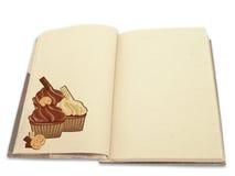 Libro di ricetta illustrato con i bigné Fotografia Stock Libera da Diritti