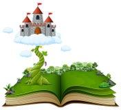 Libro di storia con il gambo di una pianta di fagioli magico e castello nelle nuvole Illustrazione Vettoriale