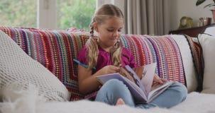 Libro di storia della lettura del ragazzo in salone a casa 4k video d archivio