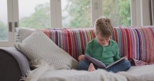 Libro di storia della lettura del ragazzo in salone a casa 4k archivi video