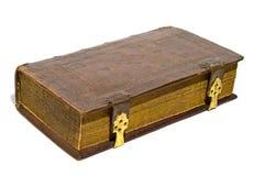 Libro duro di cuoio del coperchio isolato sopra bianco Fotografia Stock Libera da Diritti