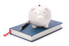 Libro e la Banca Piggy Fotografia Stock