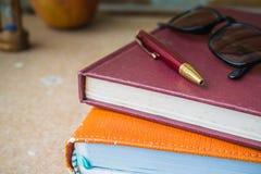 Libro e penna della spina dorsale immagini stock libere da diritti