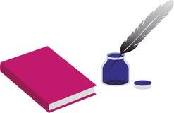 Libro e un inkpot con una penna Fotografia Stock Libera da Diritti