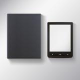 Libro elettronico con il libro nero in bianco Fotografia Stock Libera da Diritti