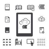 Libro elettronico con le icone di calcolo della nuvola messe Fotografie Stock