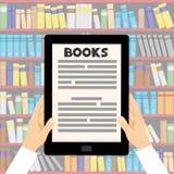Libro elettronico in mani illustrazione vettoriale