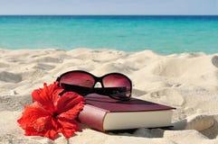 Libro en la playa Foto de archivo