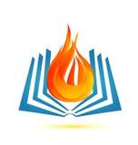 Libro en logotipo del emblema de la llama del fuego Fotografía de archivo libre de regalías