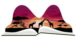 Libro a finestra con paesaggio della savanna dell'Africa Fotografie Stock