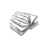 Libro Illustrazione disegnata a mano Stile di abbozzo icona retro annata Può essere usato come logo per la libreria o il negozio, Fotografia Stock