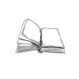 Libro Illustrazione disegnata a mano Stile di abbozzo icona retro annata Può essere usato come logo per la libreria o il negozio, Immagini Stock Libere da Diritti