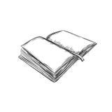 Libro Illustrazione disegnata a mano Stile di abbozzo icona retro annata Può essere usato come logo per la libreria o il negozio, Fotografia Stock Libera da Diritti