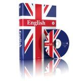 Libro inglese nella copertura e nel CD della bandiera nazionale Fotografia Stock Libera da Diritti