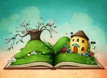 Libro mágico con la casa del huevo de Pascua ilustración del vector