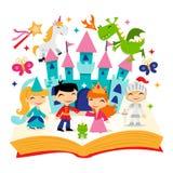 Libro mágico retro de la historia del reino del cuento de hadas ilustración del vector
