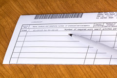 Libro macchina di ricerca di disoccupazione. Fotografie Stock Libere da Diritti