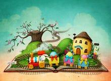 Libro magico con il treno di Pasqua illustrazione vettoriale