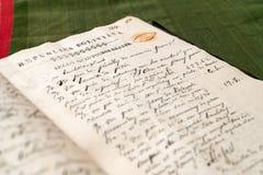 Libro manuscrito viejo Imágenes de archivo libres de regalías