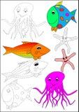 Libro-pesci di coloritura Fotografie Stock Libere da Diritti