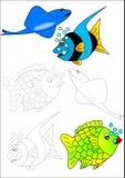 Libro-pesci di coloritura Fotografia Stock