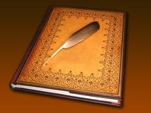 Libro que sostiene una pluma Fotografía de archivo