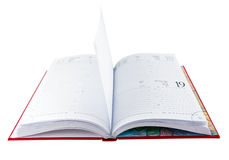 Libro rojo abierto del diario imagen de archivo