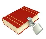 libro rosso 3d, chiuso sulla serratura illustrazione di stock