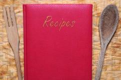 Libro rosso delle ricette fotografia stock libera da diritti