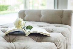 Libro sul sofà con la rosa di bianco Fotografie Stock