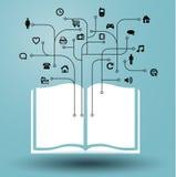 libro - tableta de gráficos de la información de medios Imágenes de archivo libres de regalías