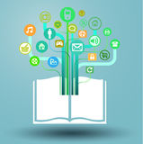Libro - tableta de gráficos de la información de medios Fotografía de archivo
