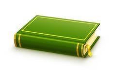 Libro verde cerrado con la cubierta en blanco Fotos de archivo libres de regalías