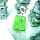Libro verde con clave metálico con otros libros stock de ilustración