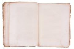 Libro viejo abierto en ambas paginaciones en blanco. Foto de archivo