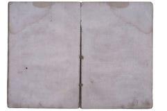 Libro viejo abierto en ambas paginaciones en blanco. Imagen de archivo libre de regalías